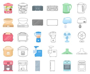 Types of household appliances cartoon,outline icons in set collection for design.Kitchen equipment vector symbol stock web illustration.