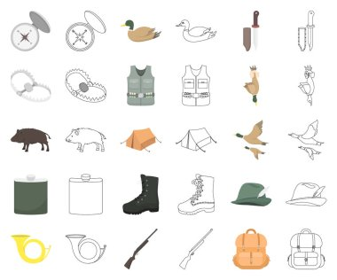 Hunting and trophy cartoon,outline icons in set collection for design. Hunting and equipment vector symbol stock web illustration.