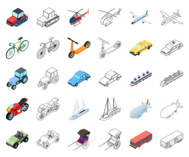 Different types of transport cartoon,outline icons in set collection for design. Car and ship isometric vector symbol stock web illustration.