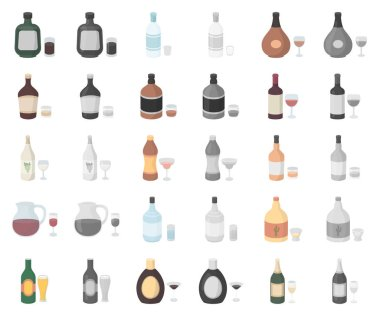 Types of alcohol cartoon,monochrom icons in set collection for design. Alcohol in bottles vector symbol stock web illustration.