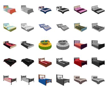 Different beds cartoon,monochrom icons in set collection for design. Furniture for sleeping vector isometric symbol stock web illustration.