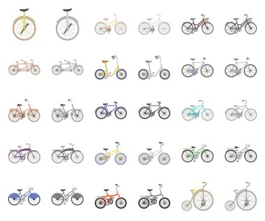 Various bicycles cartoon,monochrom icons in set collection for design. The type of transport vector symbol stock web illustration.