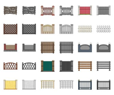 Different fence cartoon,monochrom icons in set collection for design.Decorative fencing vector symbol stock web illustration.