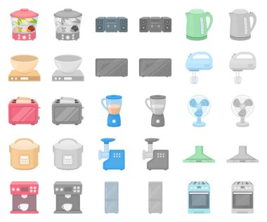 Types of household appliances cartoon,monochrom icons in set collection for design.Kitchen equipment vector symbol stock web illustration.