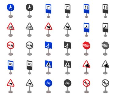 Different types of road signs cartoon,monochrom icons in set collection for design. Warning and prohibition signs vector symbol stock web illustration.