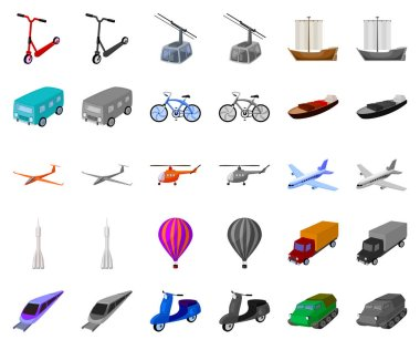 Different types of transport cartoon,monochrom icons in set collection for design. Car and ship vector symbol stock web illustration.