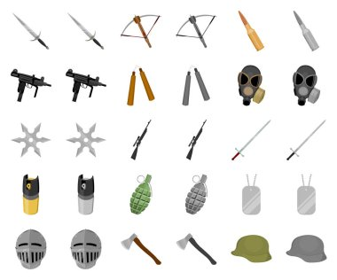 Types of weapons cartoon,monochrom icons in set collection for design.Firearms and bladed weapons vector symbol stock web illustration.