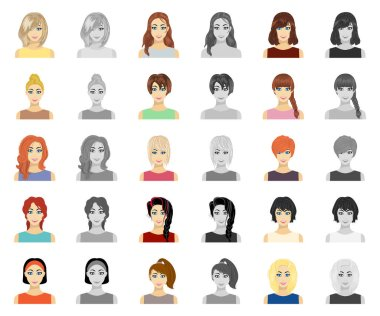 Types of female hairstyles cartoon,monochrom icons in set collection for design. Appearance of a woman vector symbol stock web illustration.