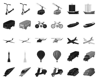 Different types of transport black,monochrome icons in set collection for design. Car and ship vector symbol stock web illustration.