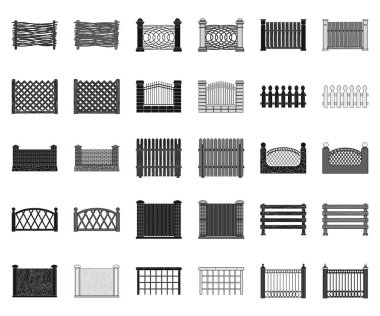 Different fence black,monochrome icons in set collection for design.Decorative fencing vector symbol stock web illustration.