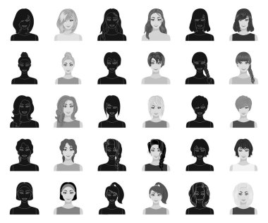 Types of female hairstyles black,monochrome icons in set collection for design. Appearance of a woman vector symbol stock web illustration.