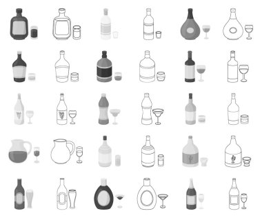 Types of alcohol monochrome,outline icons in set collection for design. Alcohol in bottles vector symbol stock web illustration.