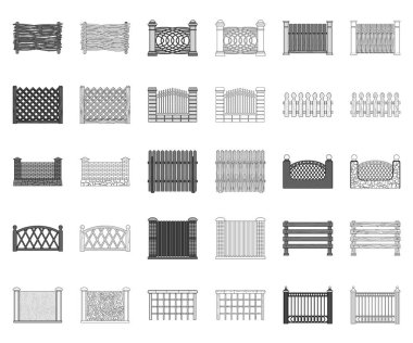 Different fence monochrome,outline icons in set collection for design.Decorative fencing vector symbol stock web illustration.