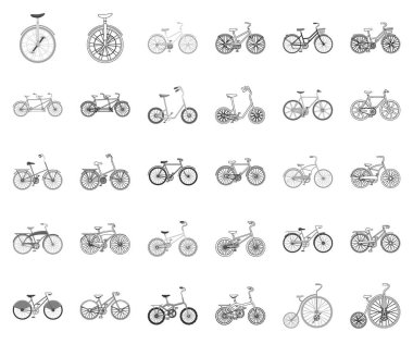 Various bicycles monochrome,outline icons in set collection for design. The type of transport vector symbol stock web illustration.