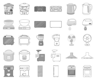 Types of household appliances monochrome,outline icons in set collection for design.Kitchen equipment vector symbol stock web illustration.