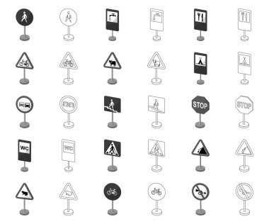 Different types of road signs monochrome,outline icons in set collection for design. Warning and prohibition signs vector symbol stock web illustration.