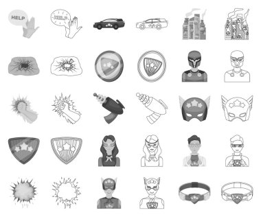 A fantastic superhero monochrome,outline icons in set collection for design. Superheros equipment vector symbol stock web illustration.