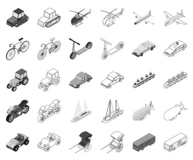 Different types of transport monochrome,outline icons in set collection for design. Car and ship isometric vector symbol stock web illustration.