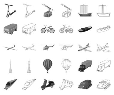 Different types of transport monochrome,outline icons in set collection for design. Car and ship vector symbol stock web illustration.