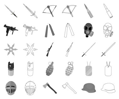 Types of weapons monochrome,outline icons in set collection for design.Firearms and bladed weapons vector symbol stock web illustration.