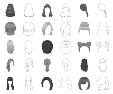 Female hairstyle monochrome,outline icons in set collection for design. Stylish haircut vector symbol stock web illustration.