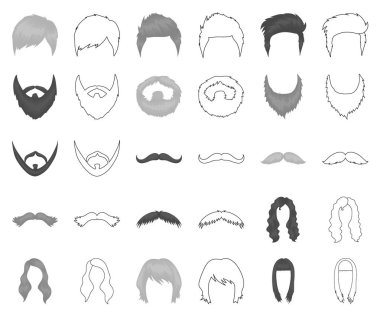 Mustache and beard, hairstyles monochrome,outline icons in set collection for design. Stylish haircut vector symbol stock web illustration.