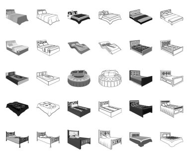 Different beds monochrome,outline icons in set collection for design. Furniture for sleeping vector isometric symbol stock web illustration.
