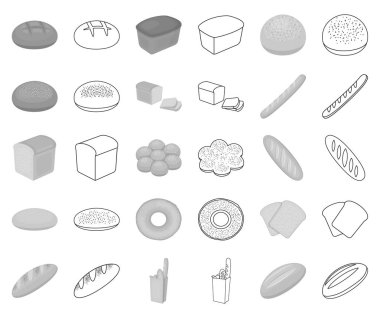 Types of bread monochrome,outline icons in set collection for design. Bakery products vector symbol stock web illustration.