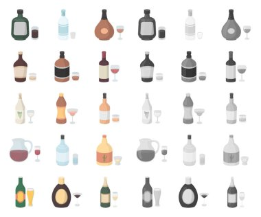 Types of alcohol cartoon,mono icons in set collection for design. Alcohol in bottles vector symbol stock web illustration.