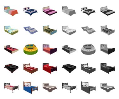 Different beds cartoon,mono icons in set collection for design. Furniture for sleeping vector isometric symbol stock web illustration.
