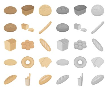 Types of bread cartoon,mono icons in set collection for design. Bakery products vector symbol stock web illustration.