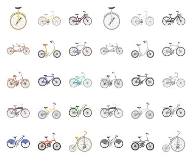 Various bicycles cartoon,mono icons in set collection for design. The type of transport vector symbol stock web illustration.