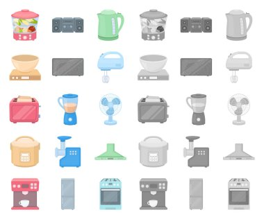 Types of household appliances cartoon,mono icons in set collection for design.Kitchen equipment vector symbol stock web illustration.