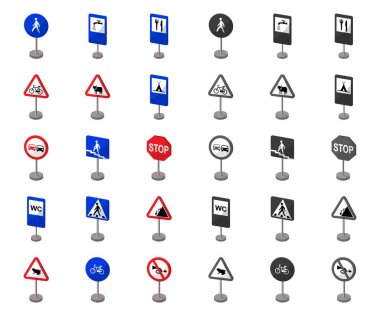 Different types of road signs cartoon,mono icons in set collection for design. Warning and prohibition signs vector symbol stock web illustration.