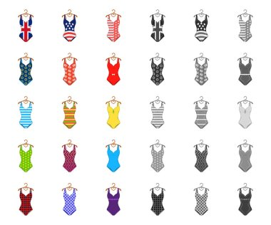 Different types of swimsuits cartoon,mono icons in set collection for design. Swimming accessories vector symbol stock web illustration.