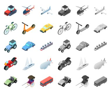 Different types of transport cartoon,mono icons in set collection for design. Car and ship isometric vector symbol stock web illustration.