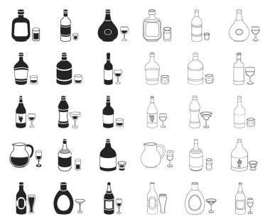 Types of alcohol black,outline icons in set collection for design. Alcohol in bottles vector symbol stock web illustration.