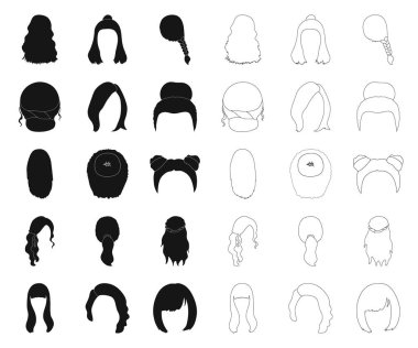 Female hairstyle black,outline icons in set collection for design. Stylish haircut vector symbol stock web illustration.
