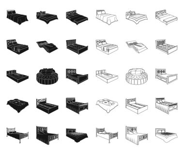 Different beds black,outline icons in set collection for design. Furniture for sleeping vector isometric symbol stock web illustration.