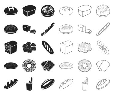 Types of bread black,outline icons in set collection for design. Bakery products vector symbol stock web illustration.