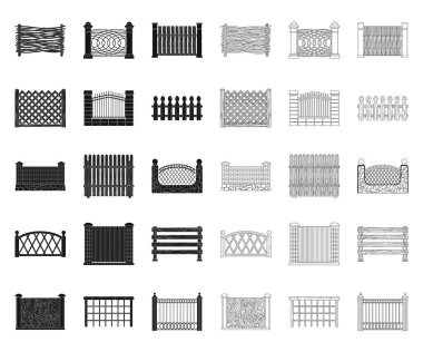 Different fence black,outline icons in set collection for design.Decorative fencing vector symbol stock web illustration.