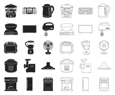 Types of household appliances black,outline icons in set collection for design.Kitchen equipment vector symbol stock web illustration.