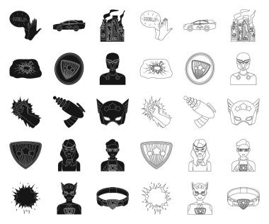 A fantastic superhero black,outline icons in set collection for design. Superhero equipment vector symbol stock web illustration.