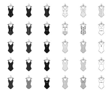 Different types of swimsuits black,outline icons in set collection for design. Swimming accessories vector symbol stock web illustration.