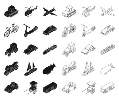 Different types of transport black,outline icons in set collection for design. Car and ship isometric vector symbol stock web illustration.