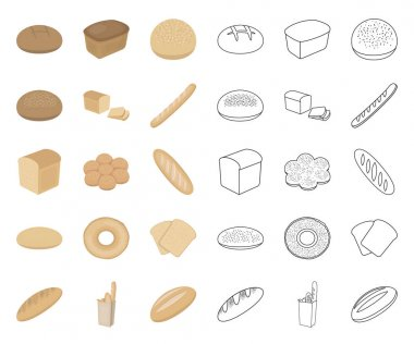 Types of bread cartoon,outline icons in set collection for design. Bakery products vector symbol stock web illustration.