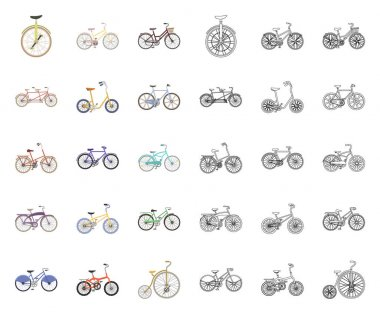 Various bicycles cartoon,outline icons in set collection for design. The type of transport vector symbol stock web illustration.
