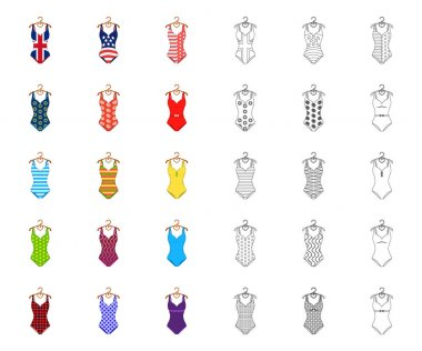 Different types of swimsuits cartoon,outline icons in set collection for design. Swimming accessories vector symbol stock web illustration.