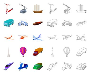 Different types of transport cartoon,outline icons in set collection for design. Car and ship vector symbol stock web illustration.