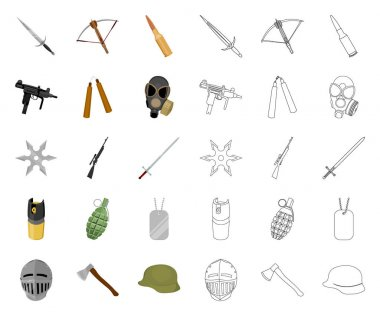 Types of weapons cartoon,outline icons in set collection for design.Firearms and bladed weapons vector symbol stock web illustration.